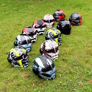 Image 2 - SOMAN Iron Man Helmet Flip Up Motorcycle Helmet Robot Style Motor Bike Casco Monster Casque DOT Approval SM515 Cool Helmets 515
