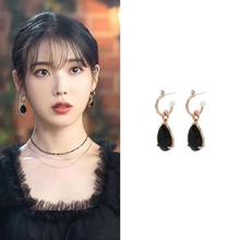 Korean Dramas TV  New Fashion Black Water Drop Zircon long Earrings Elegant For Women Eardrop Pendientes Brincos Ornament