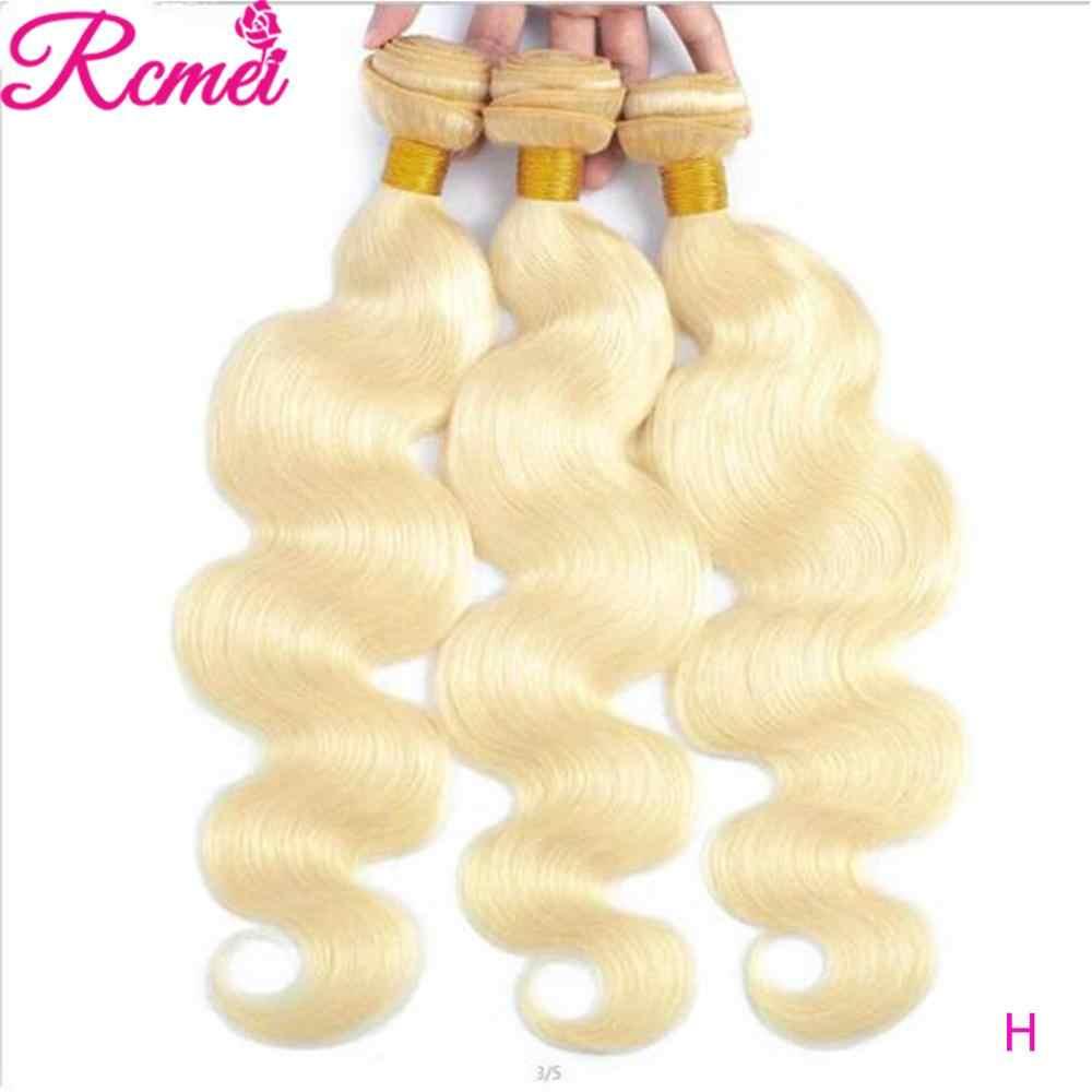 613 Honing Blonde 1/3/4 Braziliaanse Haar Bundel Diepe Golf 100% Remy Human Hair Inslag 26 28 30 32 inch Gratis Verzending Rcmei Haar