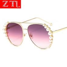 ZT Ladies Luxury Pilot Sunglasses Design Brand Pearl Decorate Sun Glasses Metal Frame Eyewear for Women UV400 Oculos