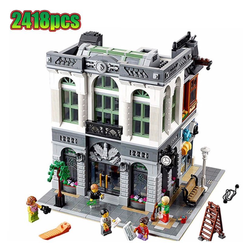 15001 Brick Bank Creator Series City Street Model 2413Pcs Building Blocks Bricks Toys Compatible with 10251 <font><b>10270</b></font> Gift For Child image