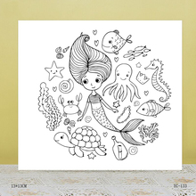 AZSG Beautiful mermaid Clear Stamps For DIY Scrapbooking/Card Making/Album Decorative Rubber Stamp Crafts