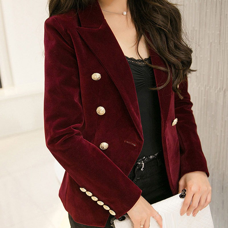 Fashion New Spring Women Slim Velvet Blazers Double Breasted Simple Lady Blazers High Grade OL Cloth Woman