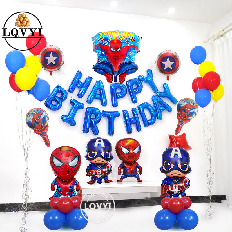 41pcs/lot Spiderman Foil Balloons Happy Brthday Captain America Hero Balloon For Kids Birthday Party Decoration Toys Air Ballon