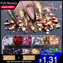 12 Grid Nail Sequins Paillette Aluminum Irregular Flakes Gold Silver Pigment Nail Art Decoration Mirror Glitter Foil Paper CH950(China)