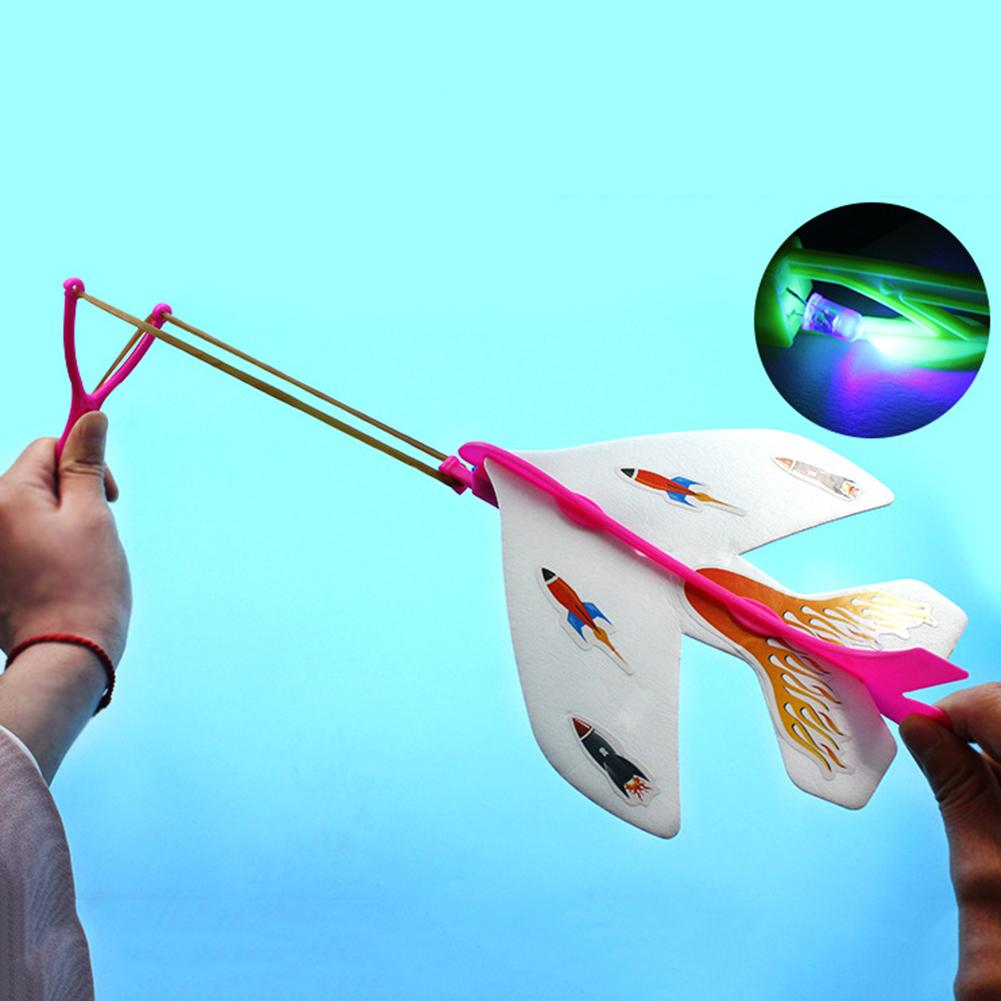 Airplane Toy Kids LED Light Catapult Airplane Toy Launcher DIY Sling Glider Plane Kids Education Toy