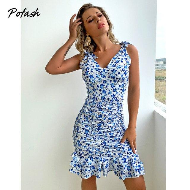 Pofash Floral Print Blue Summer Dresses Women V Neck Sexy Backless Spaghetti Strap Bodycon Dress Ruffle Mini Dress 2021 Vestidos 3