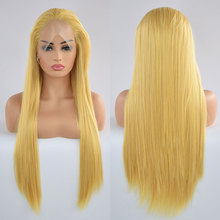 Wig Lace-Front Parting Hair-Free Heat-Resistant-Fiber Glueless Bombshell Straight Yellow