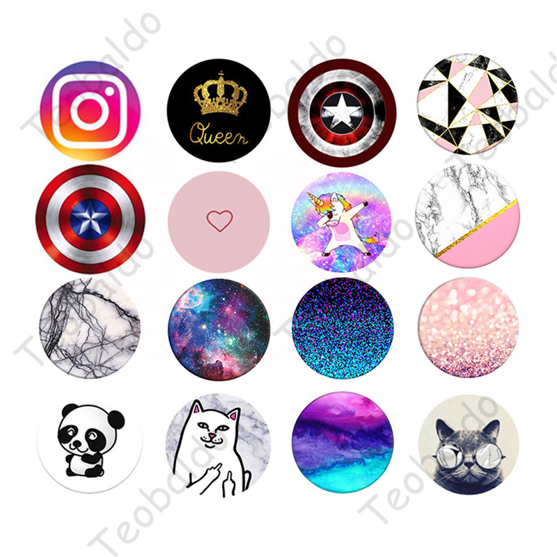 Round Phone Stand Holder Flower Marble Animal Pattern Socket Mobile Grip For IPhone 11 8 7 6s Pro Max
