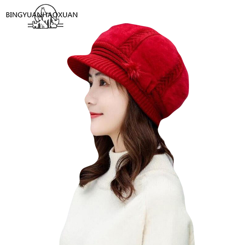 Women Winter Rabbit Fur Hat Knitted Wool Berets Warm Wool Hats Casual Cap Solid Bow Knot Female Elegant Ladies Beret