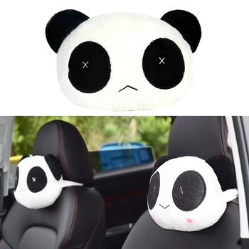 Lovely Cute Panda Car Headrest Pillow Neck Rest Support Cushion Pad Auto Head Rest Mat Pillow Automobile Interior Accessories image