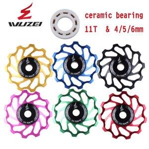 Image 2 - WUZEI polea de cerámica para bicicleta de carretera rodamiento de rueda de cerámica Jockey, aleación trasera de aluminio 7005, desviador 11T 12T 13T, 2 uds.