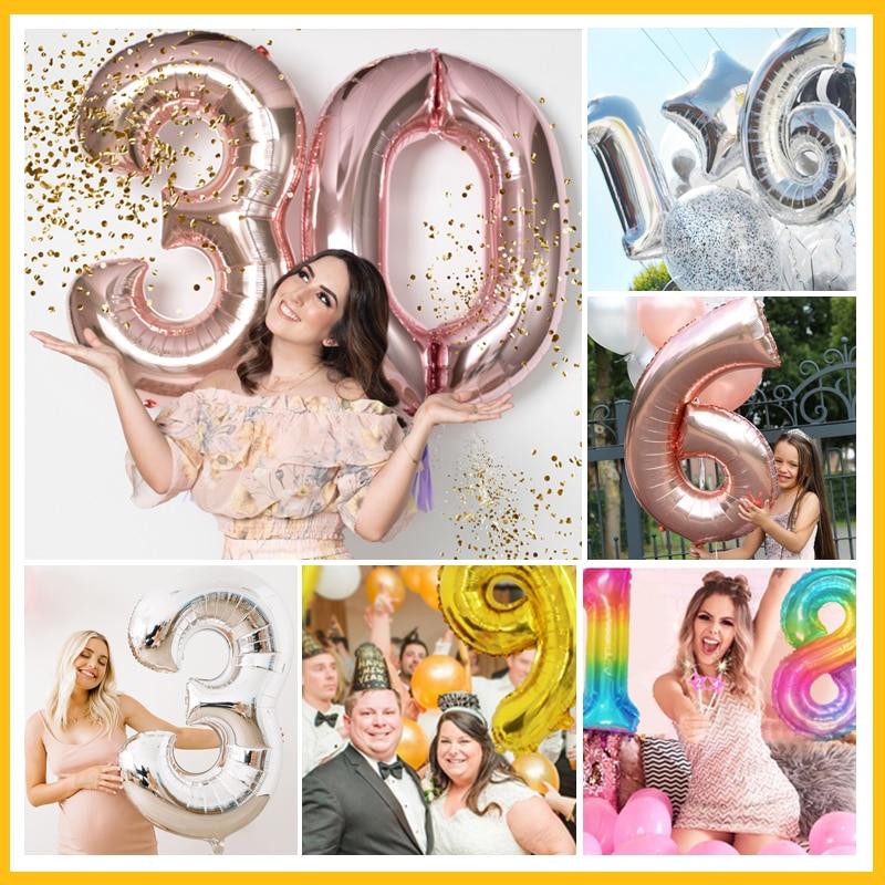 16/30 Polegada 1st foil ballons decoração feliz aniversário banner número de hélio balão chá de fraldas casamento rosa ouro fontes de festa