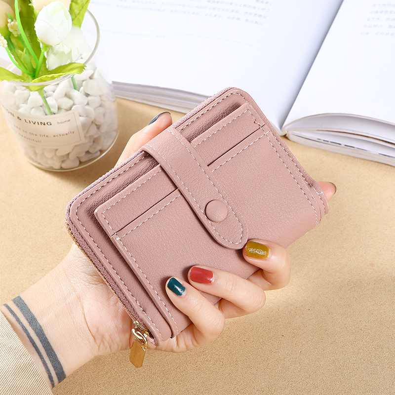 Fashion Women Wallet Lovely Candy Color Small Coin Zipper Purse Card Package PU 9X2X10.5cm Passport Holder Card Wallet