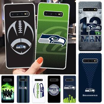 Seattle Seahawks Team Phone Case Transparent Cover For Samsung S9 S10 S8 Plus S7 S8 Coque image