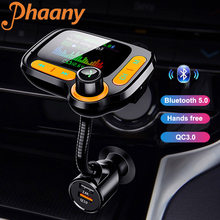 Phaany FM Transmitter Bluetooth 5.0 AUX Handsfree Car Kit Auto Radio Car MP3 Player QC3.0 Quick Charge Dual USB Car Charger