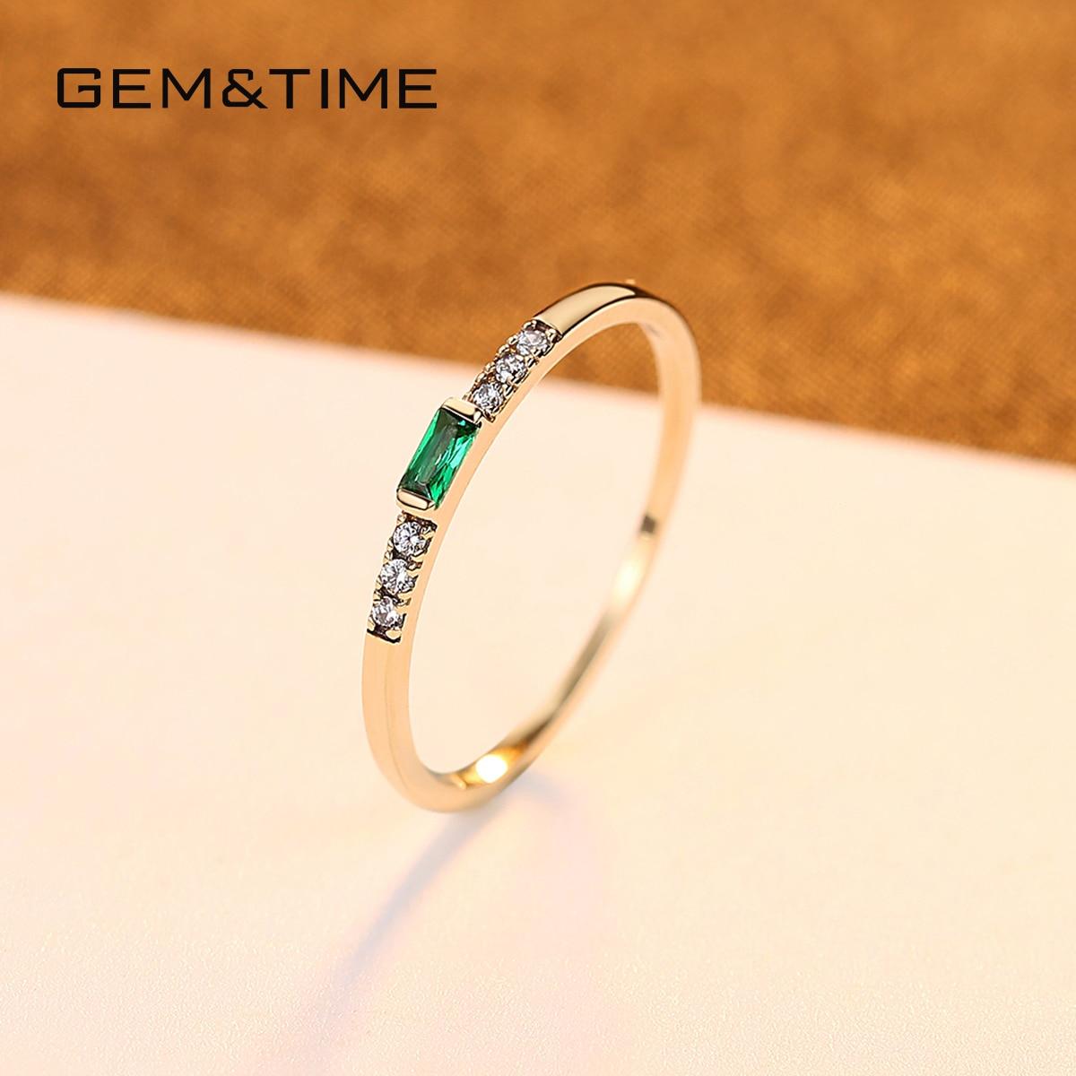 Gem & Time luxe réel 14k or anneaux émeraude pierres précieuses anneaux pour femmes fiançailles alliance or jaune 585 Fine bijoux R14140 - 4