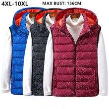 Vest Men Sleeveless Jacket Waistcoat Black Blue Hoodies Winter Big Size 7XL 8XL 9XL 10XL Thick Man Windbreaker Homme Warm Coat
