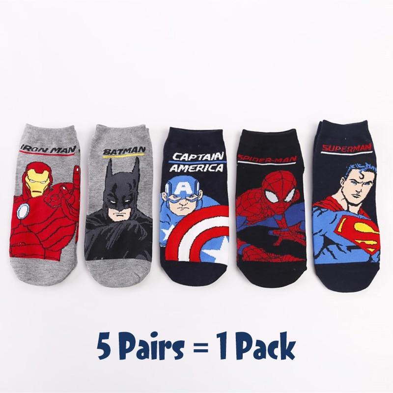 5 Pairs/Pack Comics Heroes General Socks Cartoon Superman Spider-Man Batman Iron Man Captain America Casual Marvvl Men's Socks