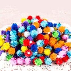 10/15/20/25/30mm glitter pompom macio de pelúcia artesanato diy pom poms bola de peles decoração de natal crianças brinquedos bonecas acessórios 100 pçs