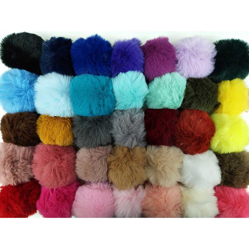 35 צבעים DIY 8cm Pompom כדור מלאכותי ארנב שיער כדור עם קטן אלסטי כבל עבור כובעי נעלי שקיות צעיפים כפפות אביזרים