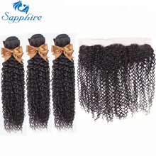 Sapphire Malaysian Kinky Curly 3 Bundles With Frontal Human Hair Weave 13x4 Pre Plucked Lace Closure