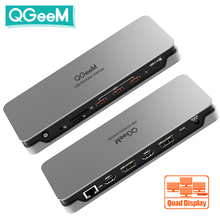 QGeeM Docking Station 14-IN-1 USB Hub 3.1 Quadruple Display for Macbook Pro Xiaomi Laptop
