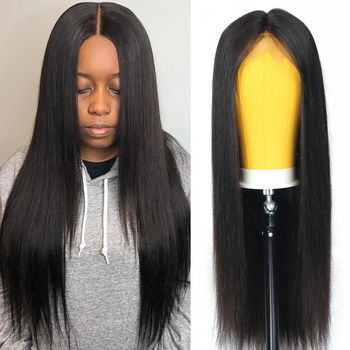 LEVITA wholesale 4x4 lace closure wig Brazilian straight lace front Human Hair Wigs for black women fake scalp wig with bangs