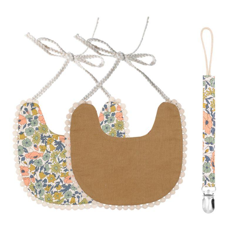 Baby Pacifier Clip Chain Baby Cotton Linen Bib Set Perfect Newborn Shower Gift