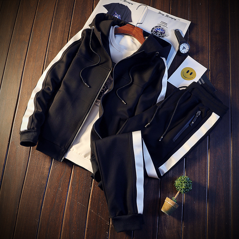 New Style Autumn Clothing Hooded Cardigan Hoodie Suit Men Casual Sports Hooded Korean-style Mixed Colors Slim Fit Coat Fashion