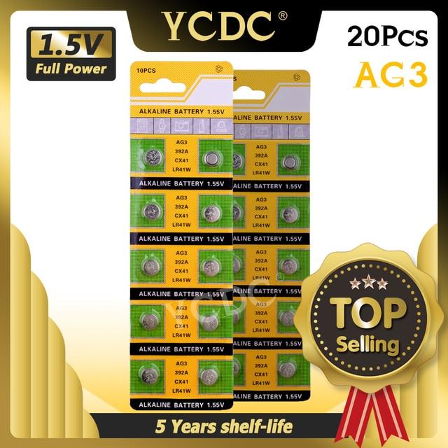 YCDC di vendita Caldo 20pcs AG3 384 392 SR41W SR41 L736 Alcalina Della Moneta Delle Cellule del Tasto Batterie Per La Vigilanza EE6204