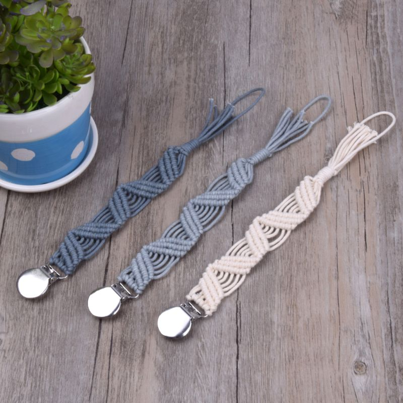 Baby Pacifier Clips Vintage Braided Cotton Dummy Clip Pacifier Chain Holder Baby Shower Gift