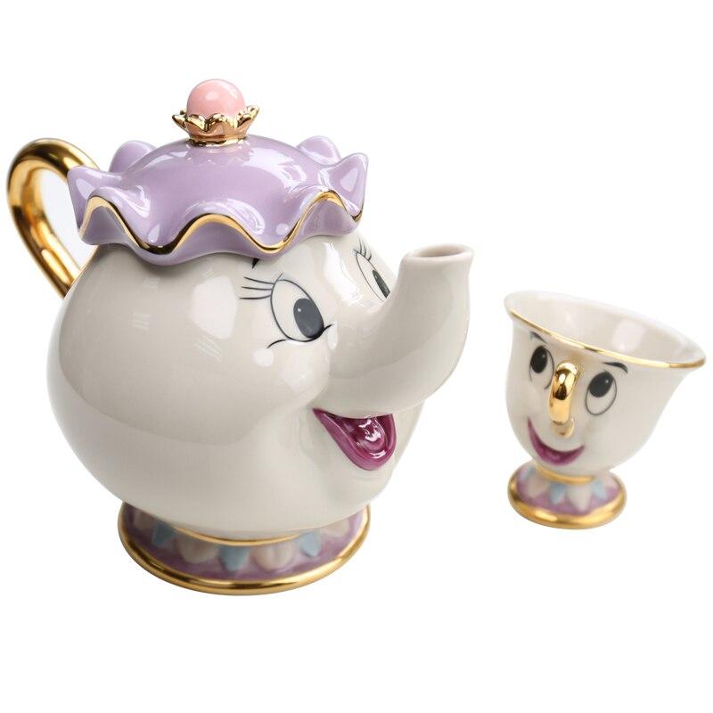 [זרוק משלוח] קריקטורה יופי והחיה קומקום ספל גברת פוטס שבב תה סיר כוס אחת סט יפה חג המולד מתנה