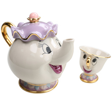 [Drop Shipping] Cartoon Beauty And The Beast Teapot Mug Mrs Potts Chip Tea Pot Cup One Set Lovely Christmas Gift