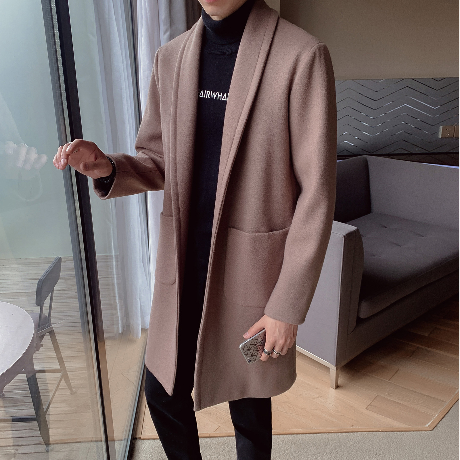 2019 Autumn And Winter New Style MEN'S Trench Coat Korean-style Mid-length Casual No Buckle Loose-Fit Fold-down Collar Woolen Ja