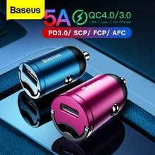Baseus شحن سريع 4.0 3.0 USB شاحن سيارة آيفون 11 برو ماكس هواوي P30 QC4.0 QC3.0 QC 5A سريع PD USB C شاحن هاتف السيارة