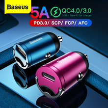 "Baseus טעינה מהירה 4.0 3.0 USB מטען לרכב עבור iPhone 11 פרו מקס Huawei P30 QC4.0 QC3.0 QC 5A מהיר פ""ד USB C רכב טלפון מטען"
