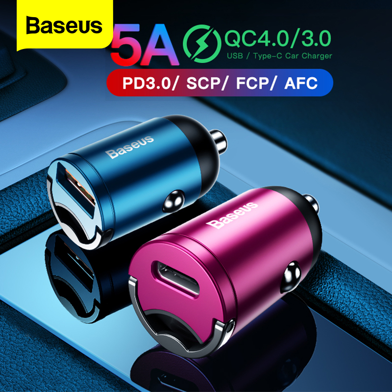 US $9.99 35% OFF|Baseus Quick Charge 4.0 3.0 USB Car Charger For iPhone 11 Pro Max Huawei P30 QC4.0 QC3.0 QC 5A Fast PD USB C Car Phone Charger|Car