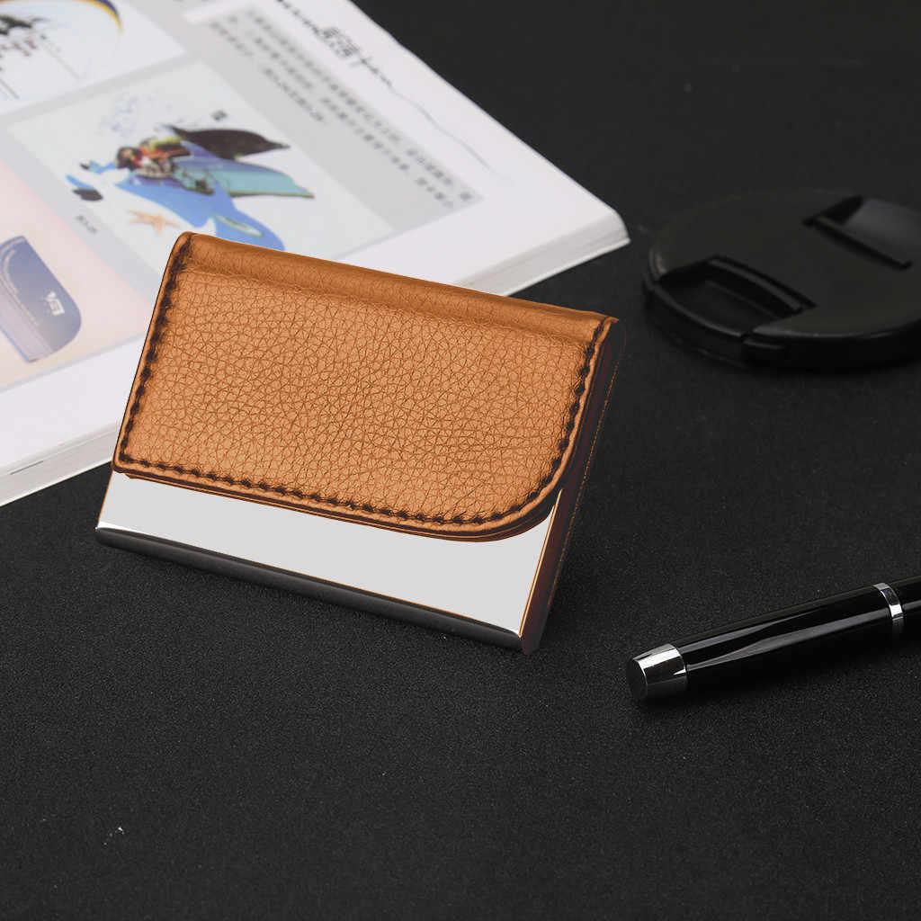 クレジットカード所有者の男性と女性の金属 Rfid ヴィンテージステンレス鋼ボックス Pu レザーファッションカード財布ビジネス Id カードケース