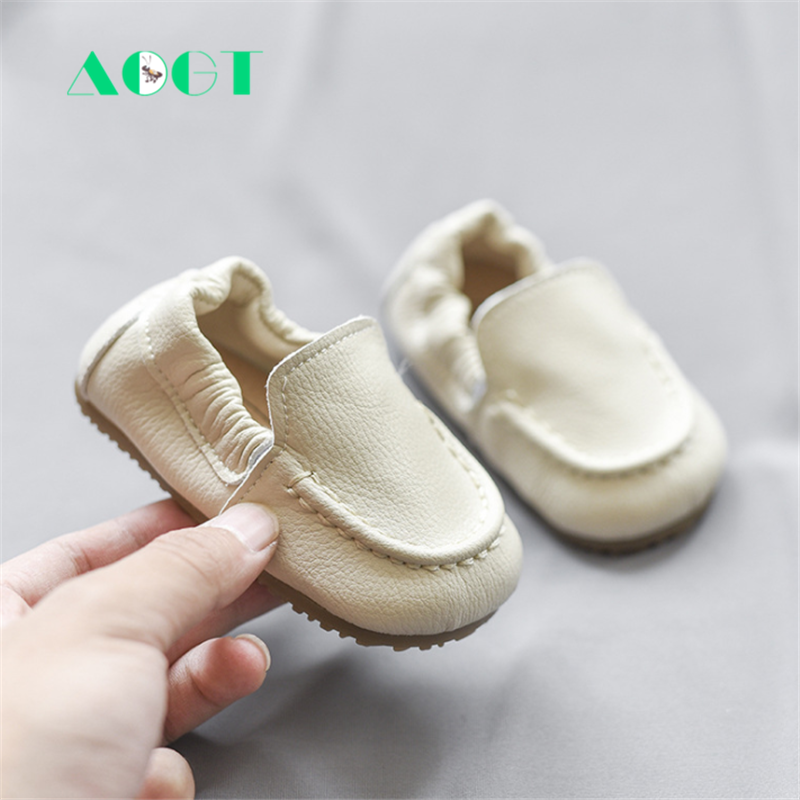AOGT Baby Shoes Round-Head Genuine-Leather Girl Boy Non-Slip Comfortable Newborn Soft
