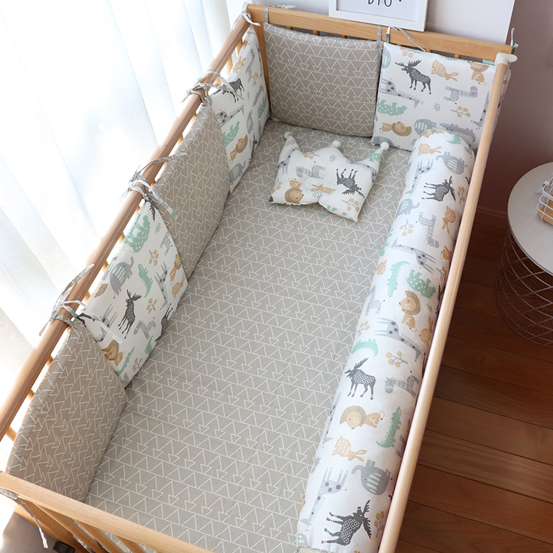 Baby Bed Bumper For Newborns Baby Room Decoration Thick Soft Crib Protector For Kids Cot Cushion With Cotton Cover Detachable(China)