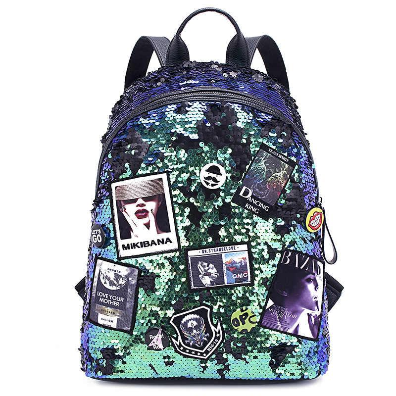 新韓国語バージョンのバックパック色スパンコールショルダーバッグ女性のファッションバッジ学生屋外大容量旅行バッグ