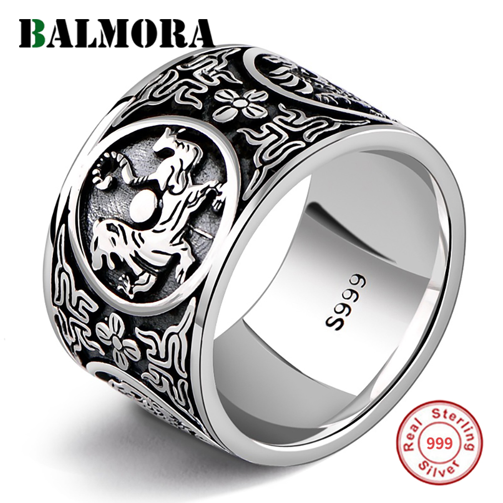 BALMORA 100% Real 999 Pure Silver Jewelry Vintage Dragon Tiger Rings for Men Male Women 1.4cm Wide Silver Ring Jewelry Anillos