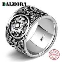 BALMORA Real 999 Pure Silver Vintage Dragon Tiger Stacking Rings for Men Male Women Cool Punk Fashion Jewelry Anillos1.4cm Wide