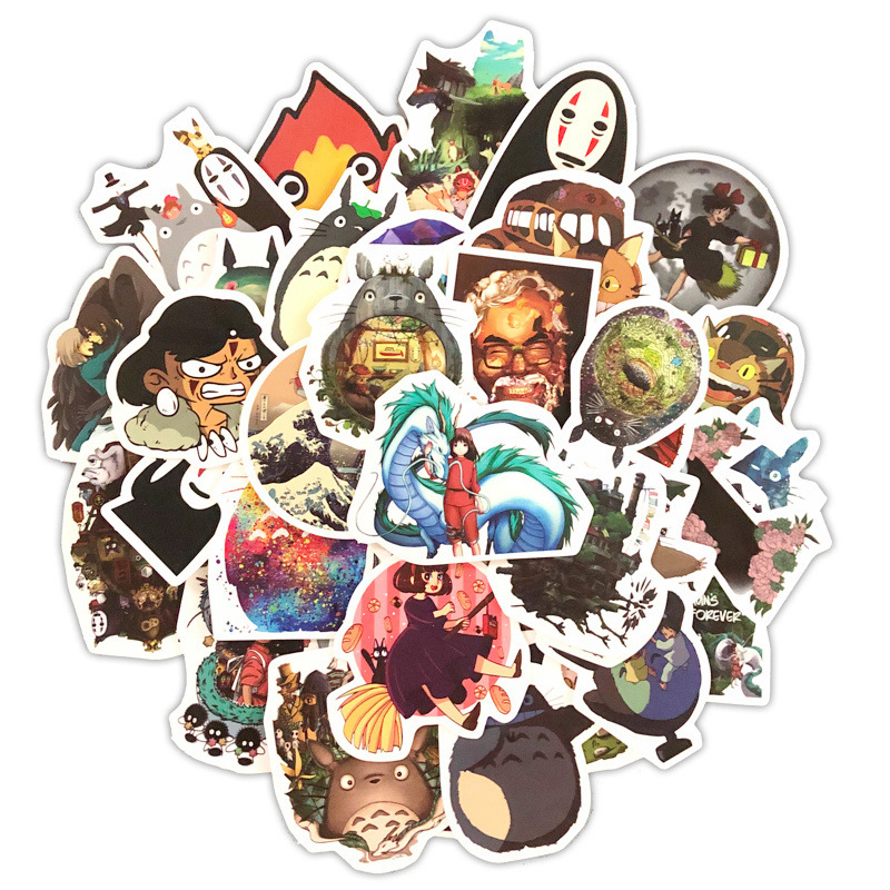 50pcs Miyazaki Hayao Anime Stickers My Neighbor Totoro/Spirited Away For Bike Laptop Motorcycle Skateboard Guitar Sticker