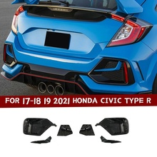 เปลี่ยนสำหรับ17 18 19 2021 Honda Civic Type R สีดำด้านหน้ากันชนกันชนด้านหน้ากันชนโคมไฟ/ด้านหลังกันชน fog Lamp Cover อุปกรณ์เสริมอัตโนมัติ