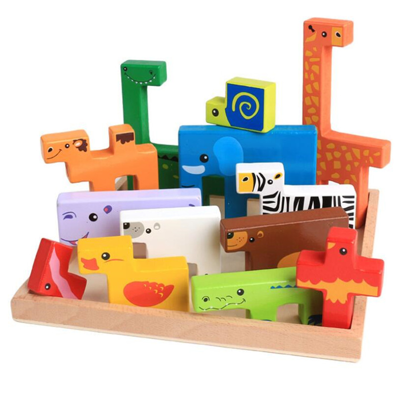 13pcs 3D Puzzles Cube Montessori Materials Wooden Toys Baby Wood Educational Toys Jigsaw For Child Gift