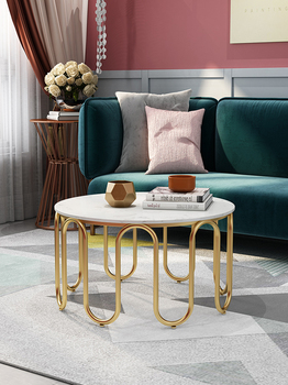 Nordic marble table simple modern living room small apartment simple furniture round creative luxury golden coffee table mc2102b modern living room furniture marble top tea table coffee table with drawer