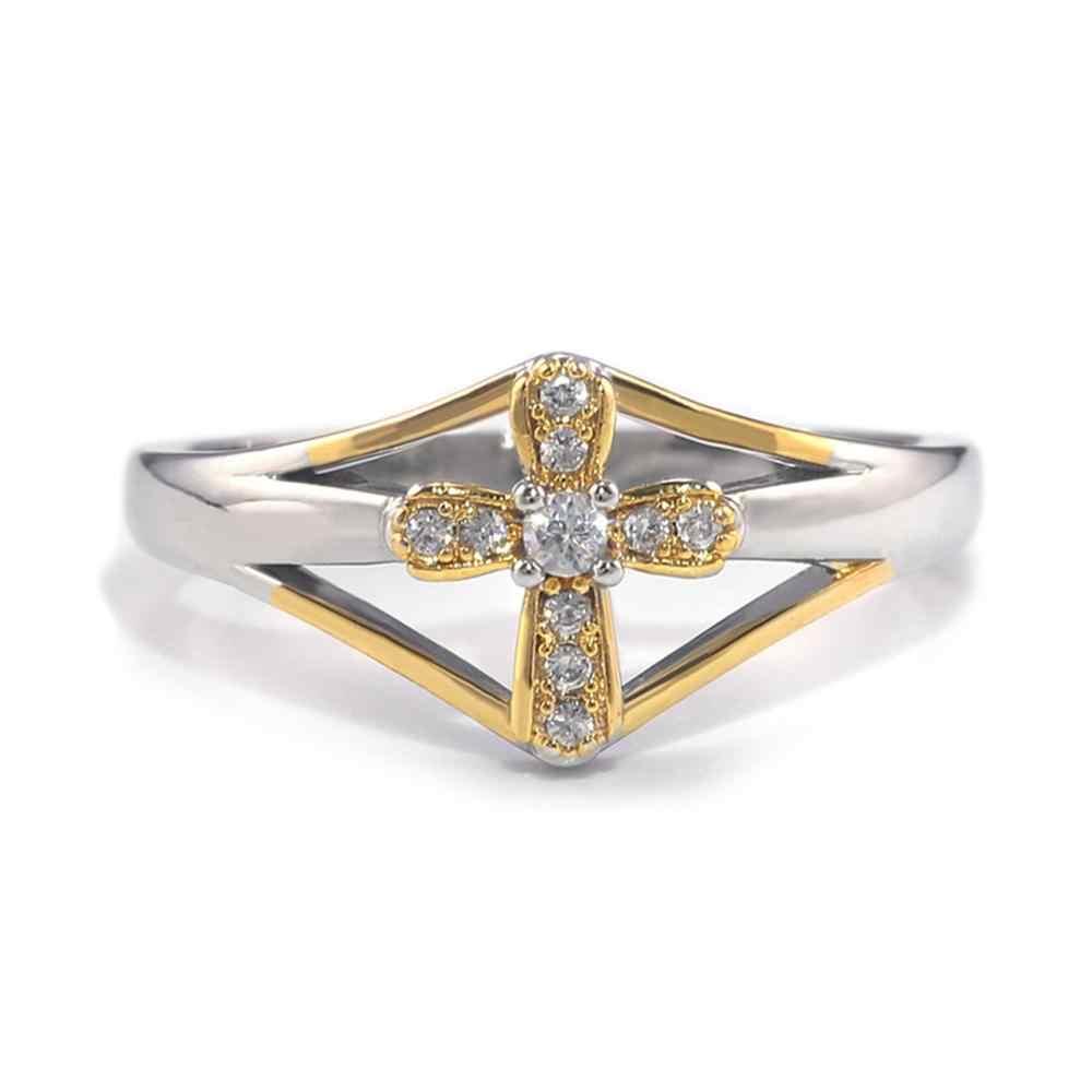 Moda krzyż ze stopu żółty posrebrzane Emerald Multi kolor kryształu pierścień wesele cyrkon luksusowe pierścionki biżuteria prezent