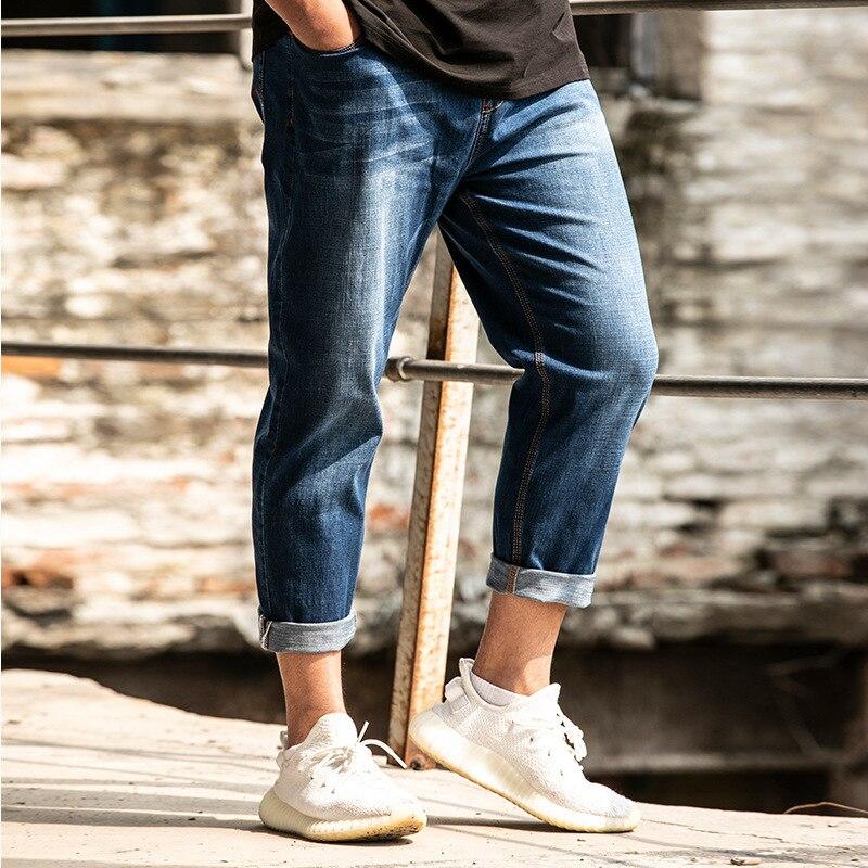 2019 Spring Summer New Style Men Capri Jeans Loose Elasticity Plus-sized Trousers Men'S Wear